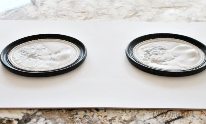 Mounting upcycled Cameos onto an IKEA frame background for DIY Wall Art