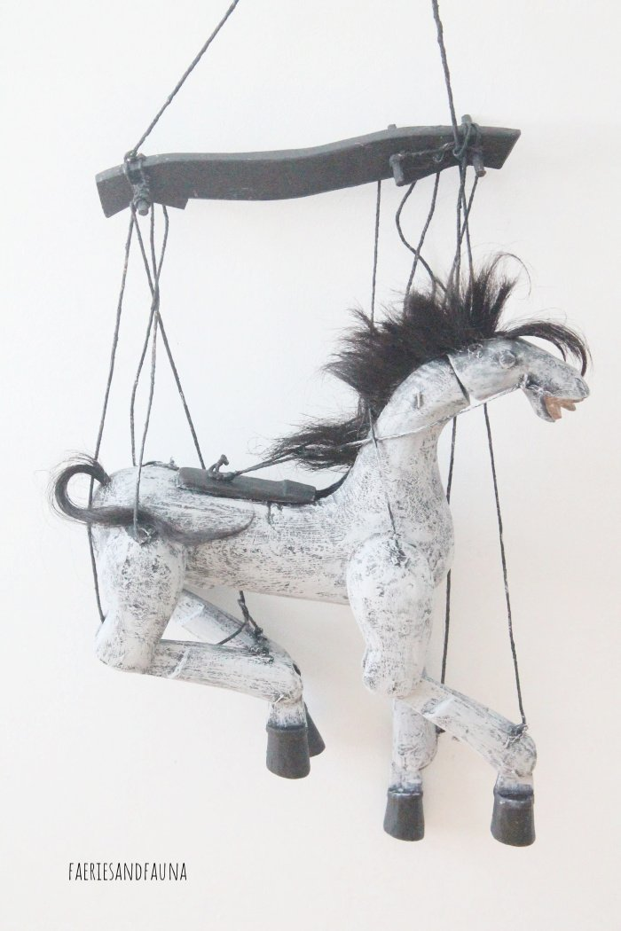 Two tone grey and white paint job on vintage horse