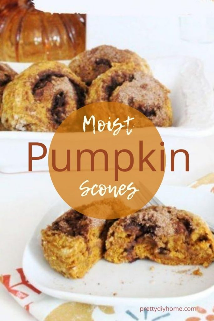 A bowl of Pumpkin Cinnamon Swirl scones and a single serving shown cut open on a plate with a fork for eating.