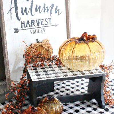 Buffalo Check Stool Makeover for Vignettes and Arrangements
