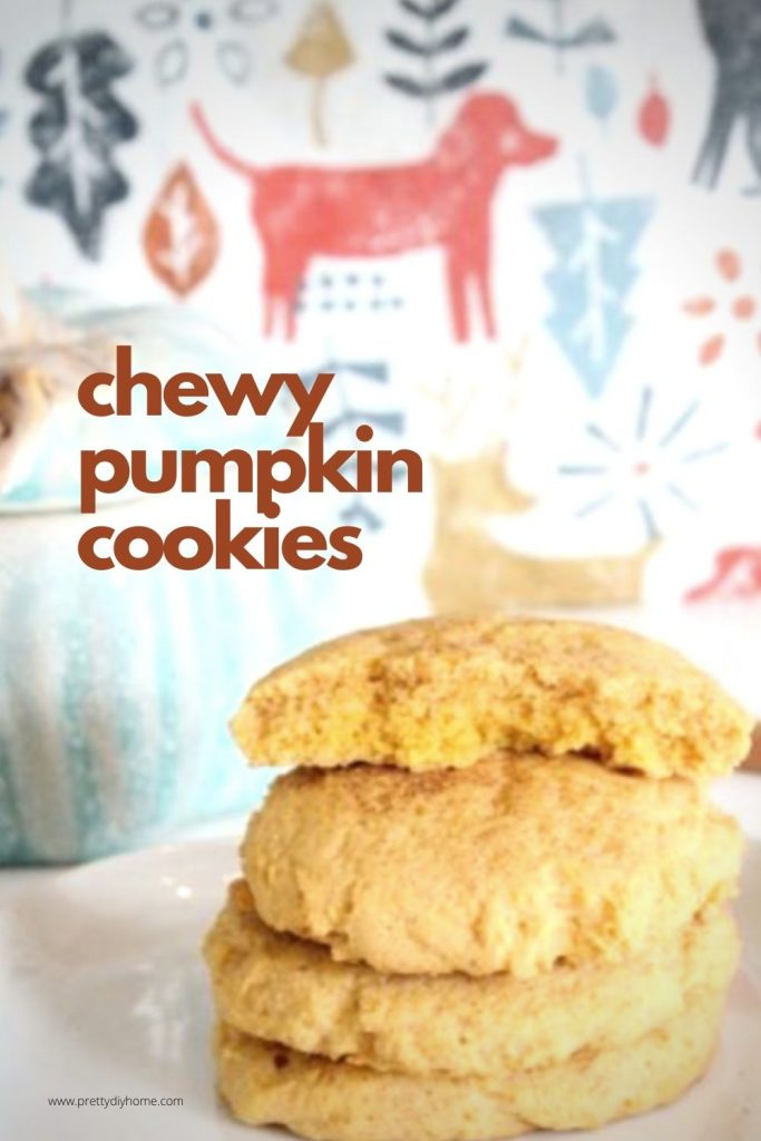 Soft and chewy pumpkin spice cookies in a stack showing the soft center.