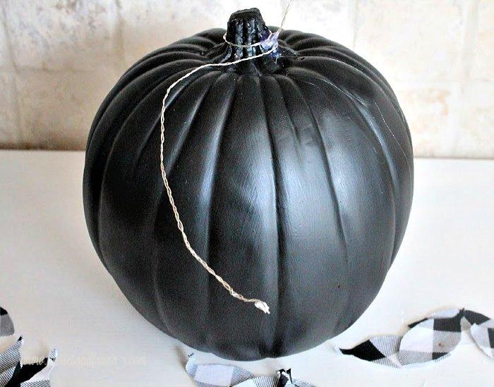 Painted pumpkin idea using plain plastic pumpkin.