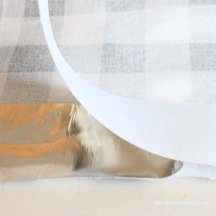 How to attach buffalo check fabric to aluminum tape to form leaves.