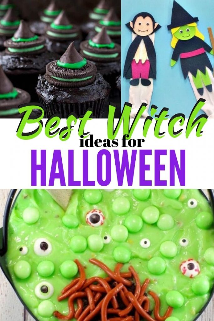 Halloween crafts, DIY Halloween decorations and Halloween treats with a witch theme.