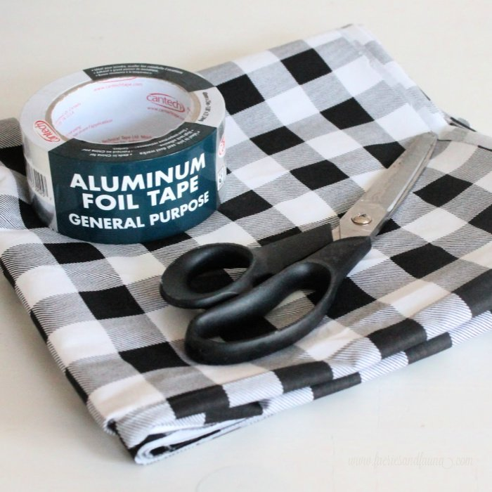 Supplies for making DIYblack and white buffalo check fabric leaves for Fall decorating