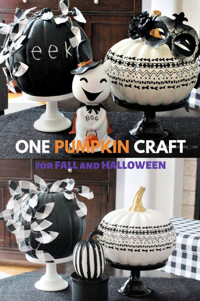 chalkboard painted craft pumpkin for both Fall and Halloween