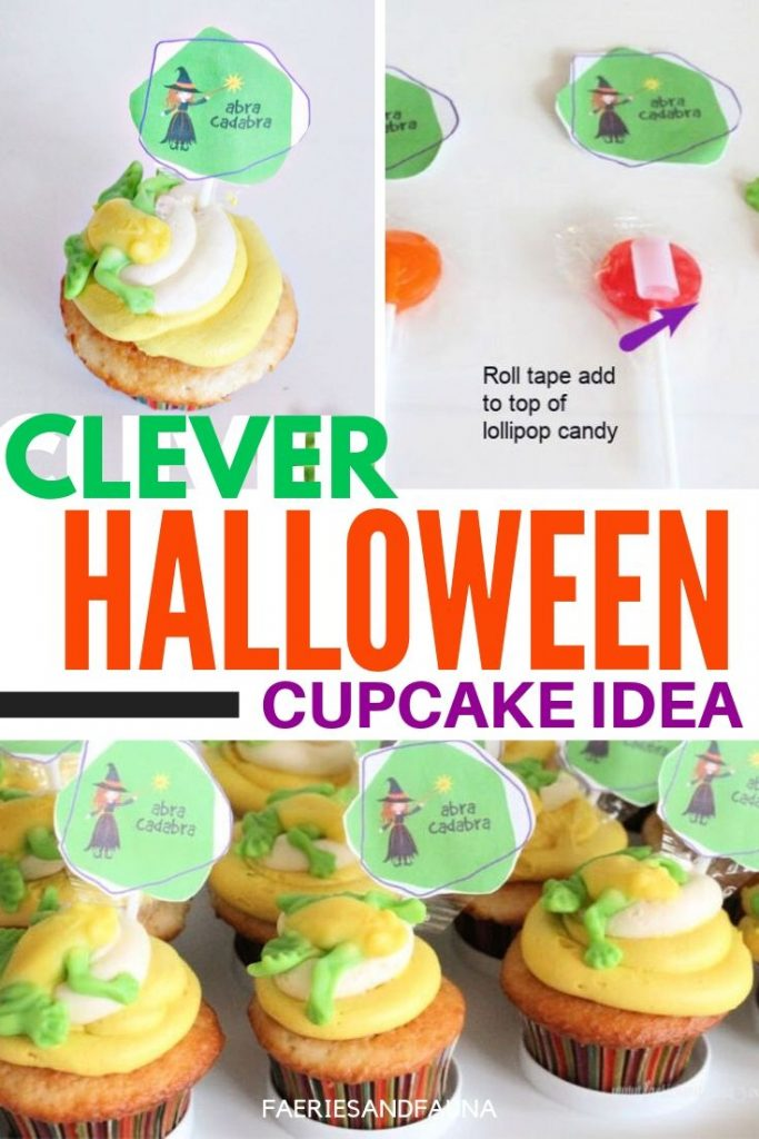 Halloween cupcakes for kids, a not scary Halloween treat idea for a kids Halloween party