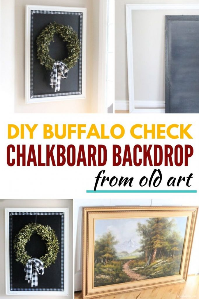 Make a chalkboard backdrop from an old picture and use for farmhouse decor