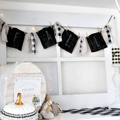 Two Sided Buffalo Check DIY Banner for Fall and Halloween