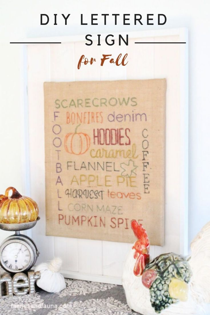 How to make a DIY sign for the home with subway Fall lettering.