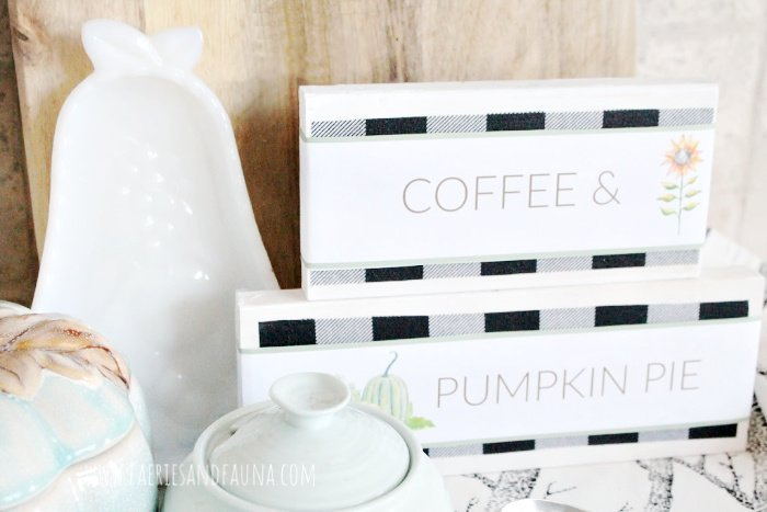 Buffalo check wood blocks with free printable wording that says Coffee and Pumpkin pie.