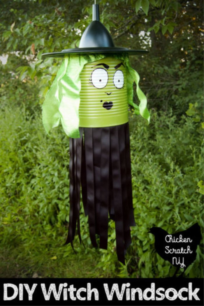 Halloween Craft for Outdoors, a witch windsock