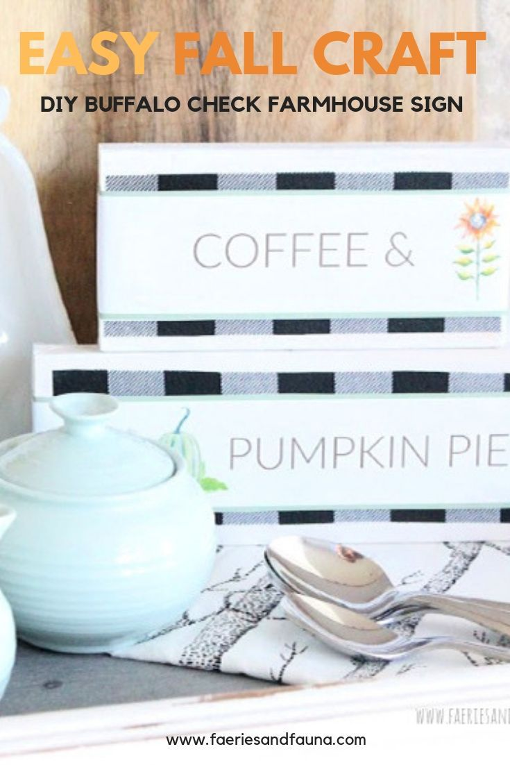 How to make a Wood Block Sign for Fall with Buffalo Check