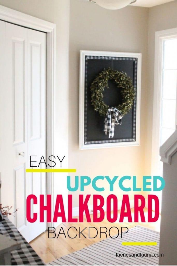 A DIY large chalkboard, a DIY farmhouse chalkboard with buffalo check.