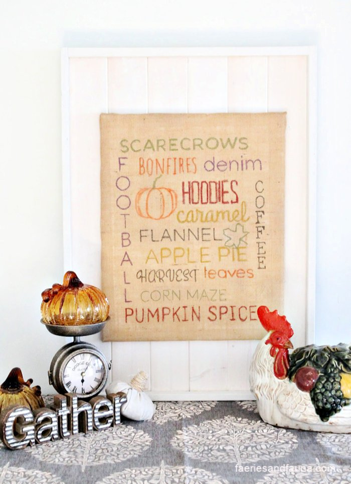 How to make a diy Fall sign using burlap and dollar store supplies.