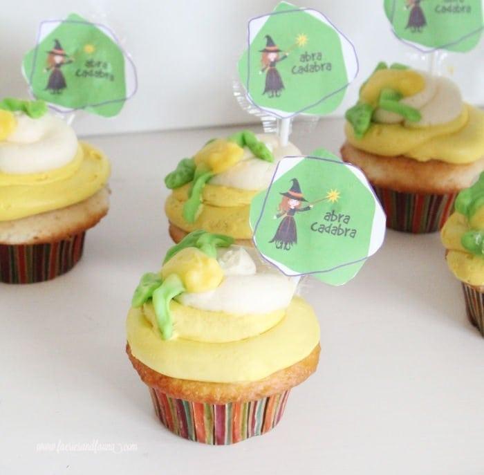 A dozen Halloween cupcakes with Abracadabra toads