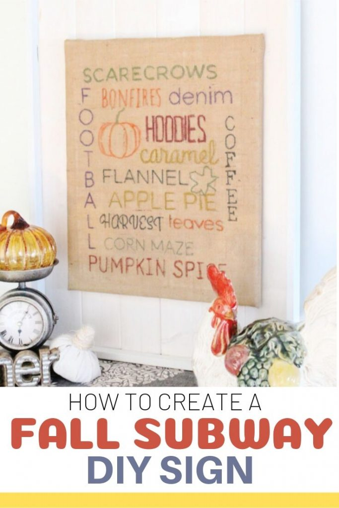 A Fall Burlap DIY lettered sign made with burlap and burlap.