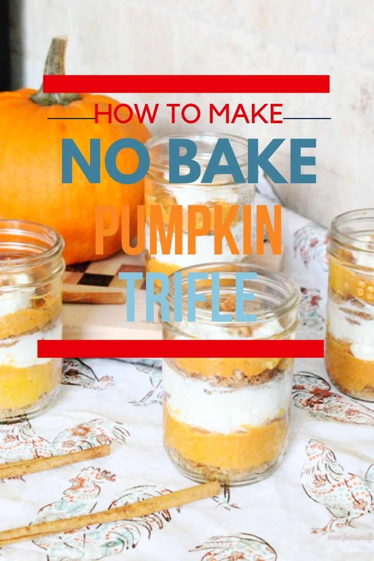 Pumpkin trifle recipe made with cream cheese and pumpkin layered in mason jars.