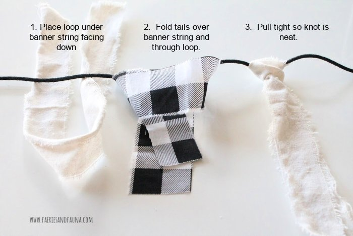 Tying buffalo check and drop cloth strips of fabric to aFall banner craft
