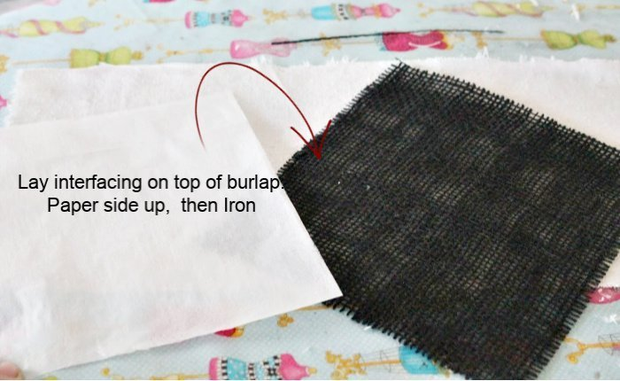 Layer burlap, interfacing, and dropcloth together to make banner panels for Fall decorating.