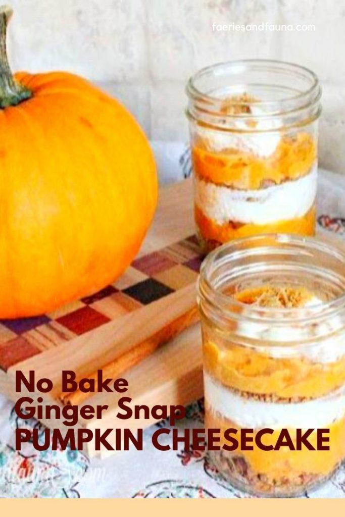 No Bake Ginger snap crust Pumpkin Cheesecake recipe
