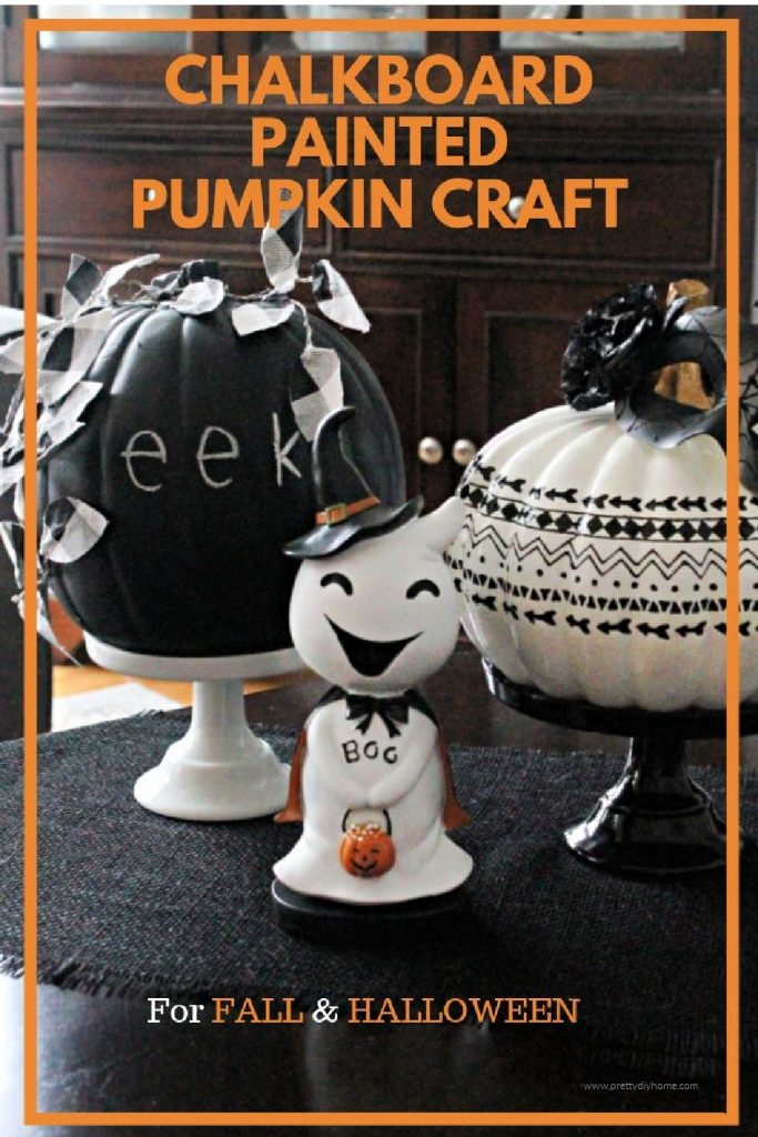 A fun pumpkin craft using black paint that can be used for both Fall or Halloween. The pumpkin is black and has removable chalk writing on it that says Eek. For Fall it has buffalo check wire leaves and you remove the chalk.