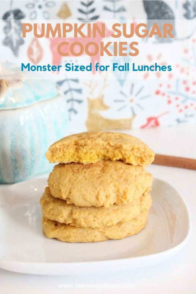 Large Pumpkin Sugar Cookie Recipe for Fall. A great lunch cookies for kids.