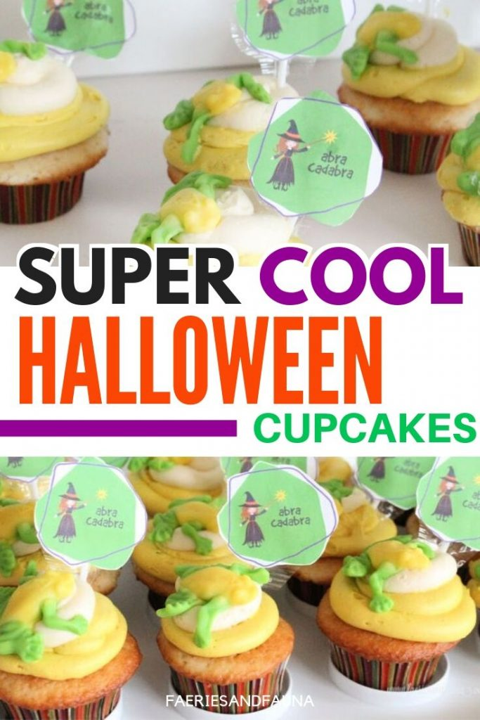 Halloween cupcake idea for kids. Not scary Halloween cupcake idea with a witch and a toad