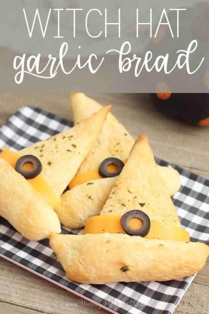 Garlic bread appetizers for halloween.