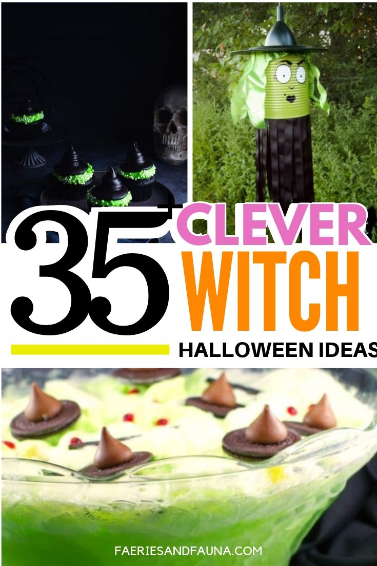 A collection of 35 of the best Halloween witch ideas. Clever and fun Halloween recipes, Indoor and Outdoor Halloween Decorations with a witch theme.