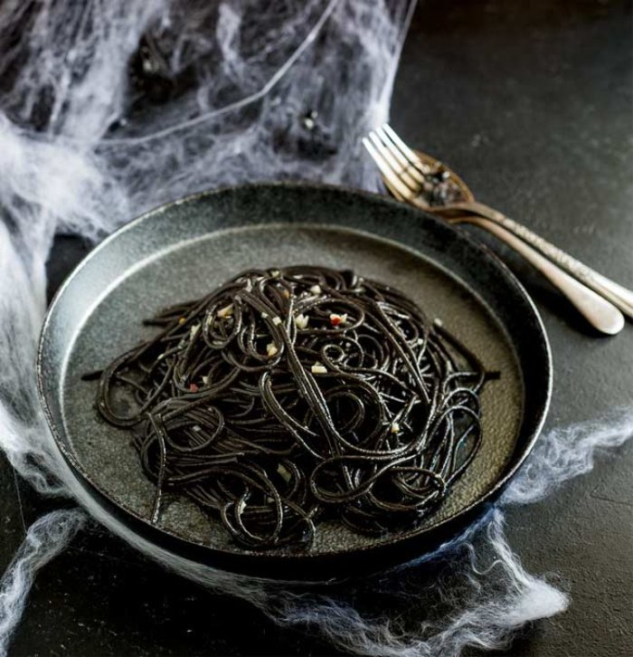 Witch themed black pasta for Halloween