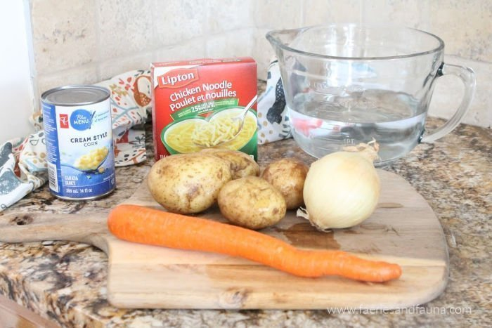 The ingredients for chicken noodle chowder soup recipe