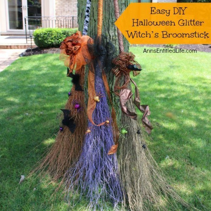 DIY witch brooms in bright glitery colours