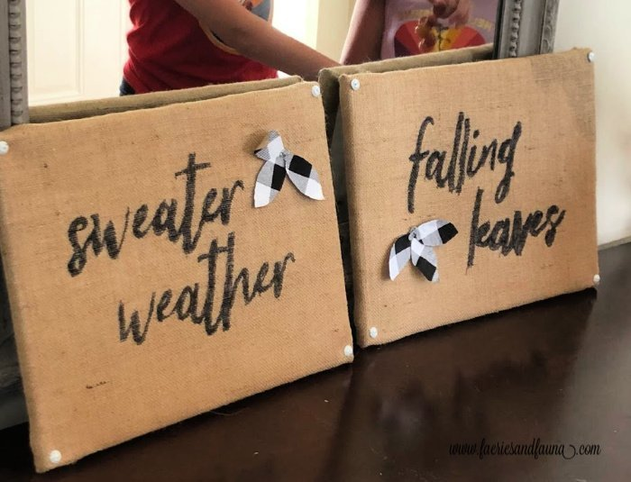 Two DIY Fall sign craft for children.