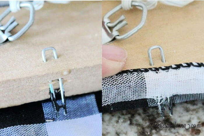 wrapping ribbon so that it fits into a old picture frame for adding buffalo check