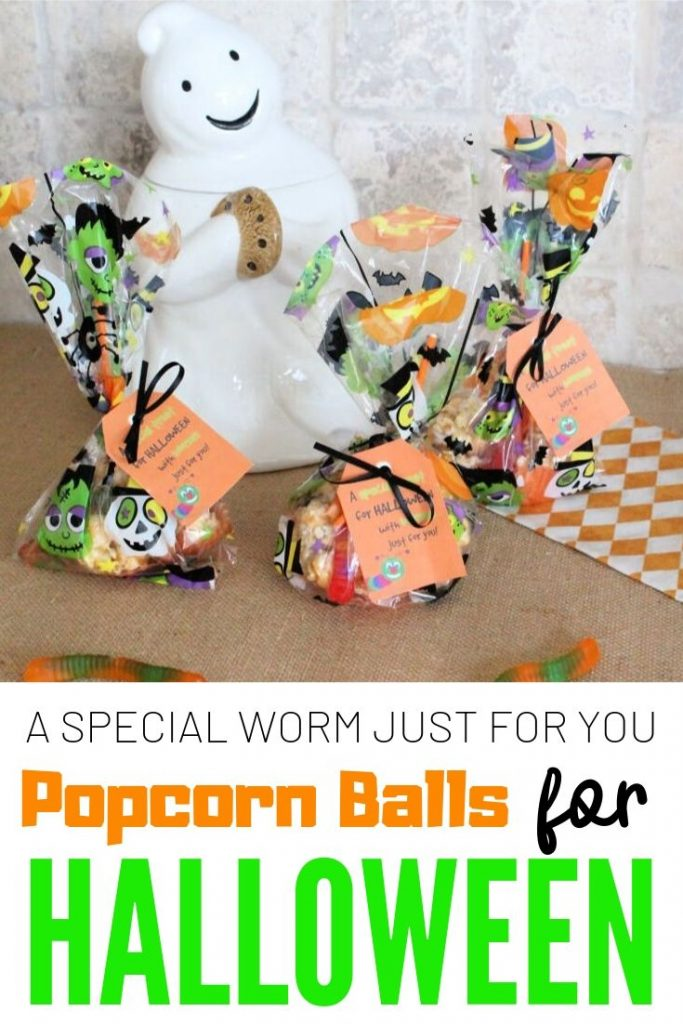 Popcorn ball recipe for Halloween with marshmallows, and caramel corn.