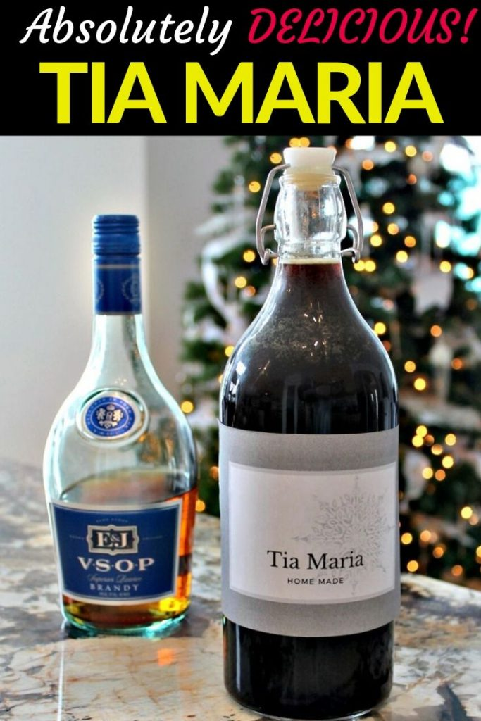 A bottle of homemade Tia Maria for Christmas