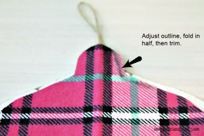 How to make your own flannel and wood Christmas tree ornaments with pink plaid.