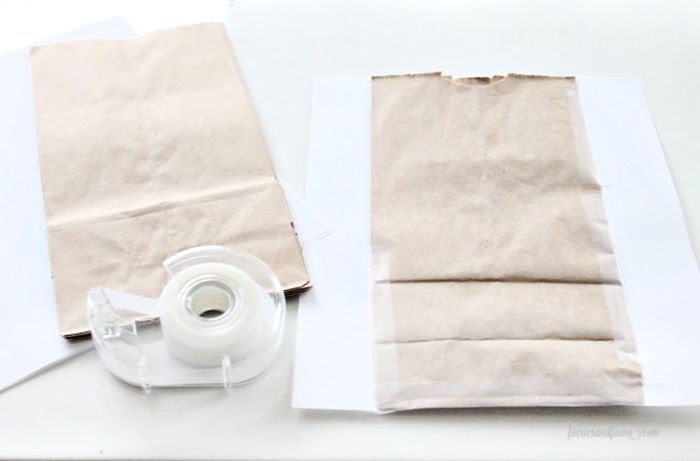 Papering paper bags for printing on a home printer to add labels.