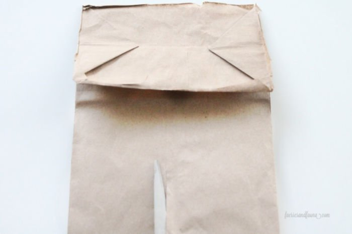 Cutting a paper lunch bag for cheap DIY Farmhouse Drawer Liners