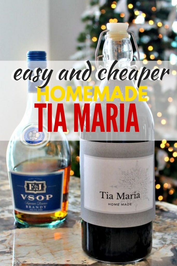 A large bottle of Tia Maria liqueur. A homemade liqueur recipe that delicious with coffee.