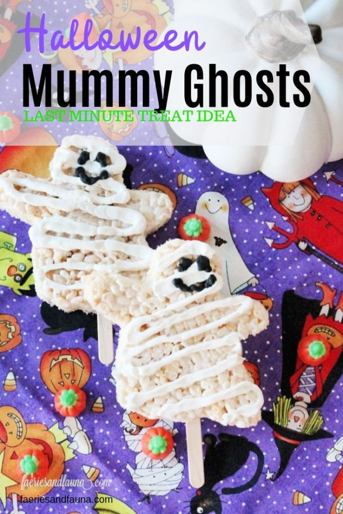 Rice krispie Halloween treats for kids made with marshmallows, Easy ghost shaped treats with cute icing faces