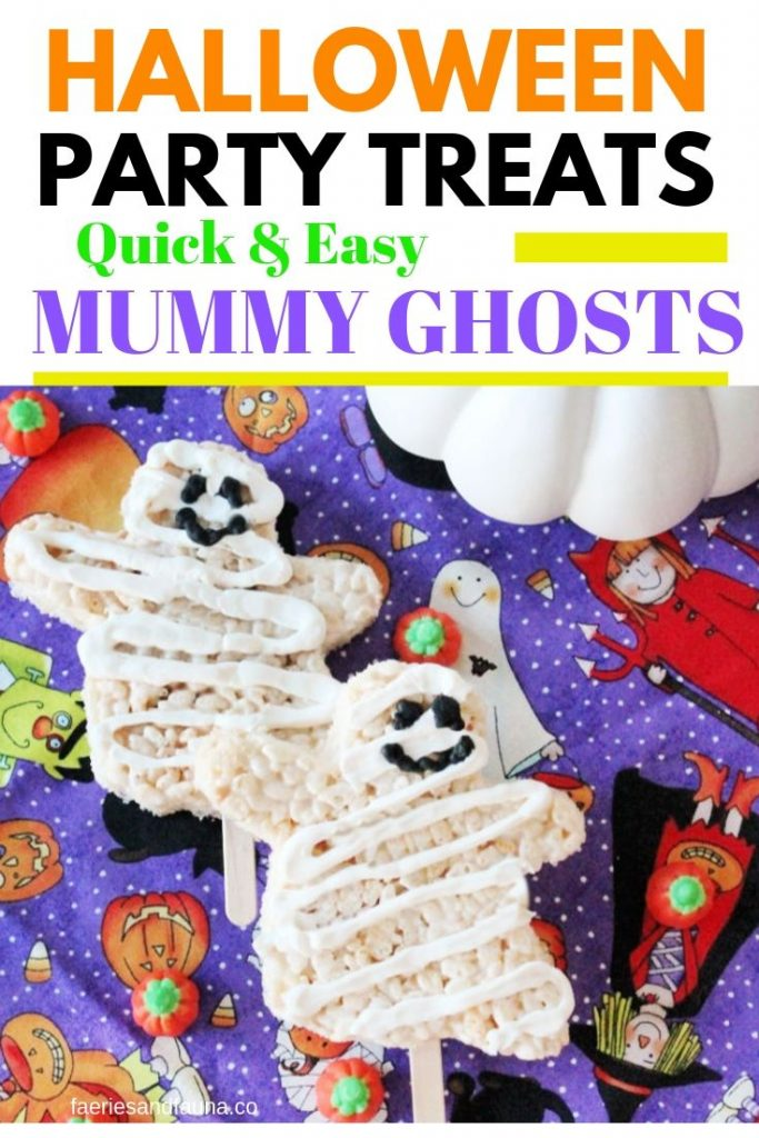 Halloween party treats that look like little ghosts with mummy wrapping.