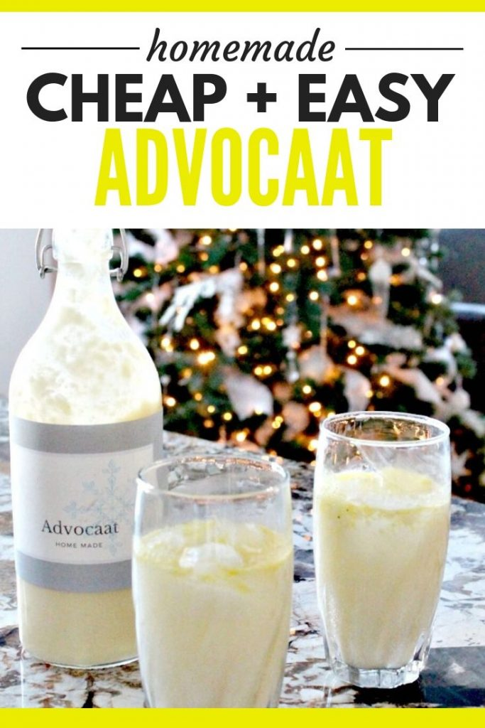 A copycat recipe of Advocaat in a large bottle with two glasses of snowball cocktails on a kitchen counter.
