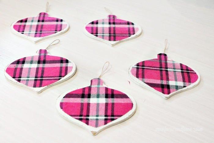 Plain pink flannel farmhouse DIY Christmas ornaments