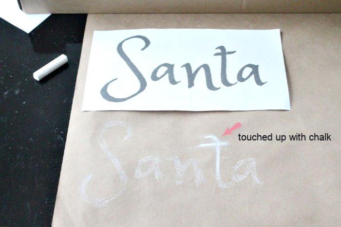 Chalk transfer on DIY Paper Scroll art for Christmas