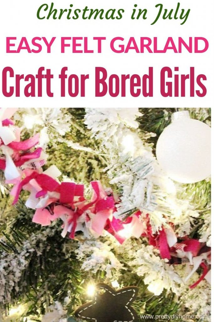 Easy to make felt garland craft in pink, soft pink and plaid on a Christmas tree.
