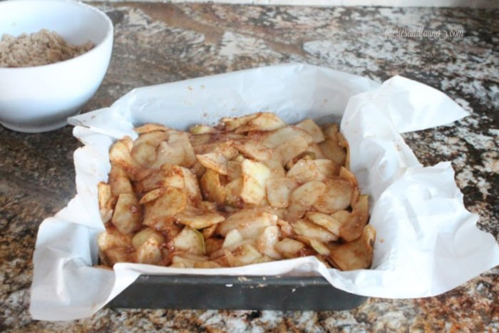 Baked apple slice layer in a shortbread apple square recipe