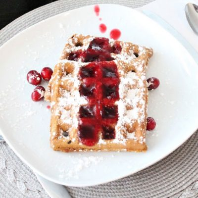 Gingerbread Waffle Recipe served with Cranberry Syrup
