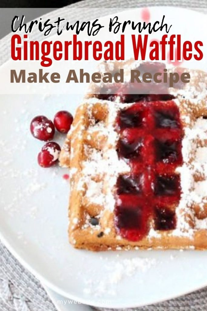 Crunchy and tender gingerbread waffle topped with cranberry syrup and icing sugar for Christmas morning.